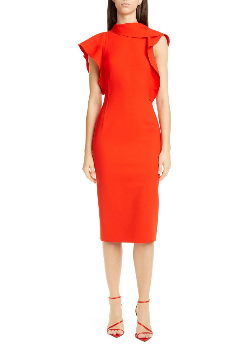 Oscar de la Renta Ruffle Trim Stretch Wool Dress