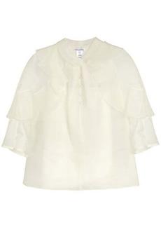 Oscar De La Renta Ruffle-trimmed silk-organza blouse