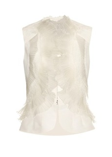 Oscar De La Renta Ruffled and pleated silk-faille top