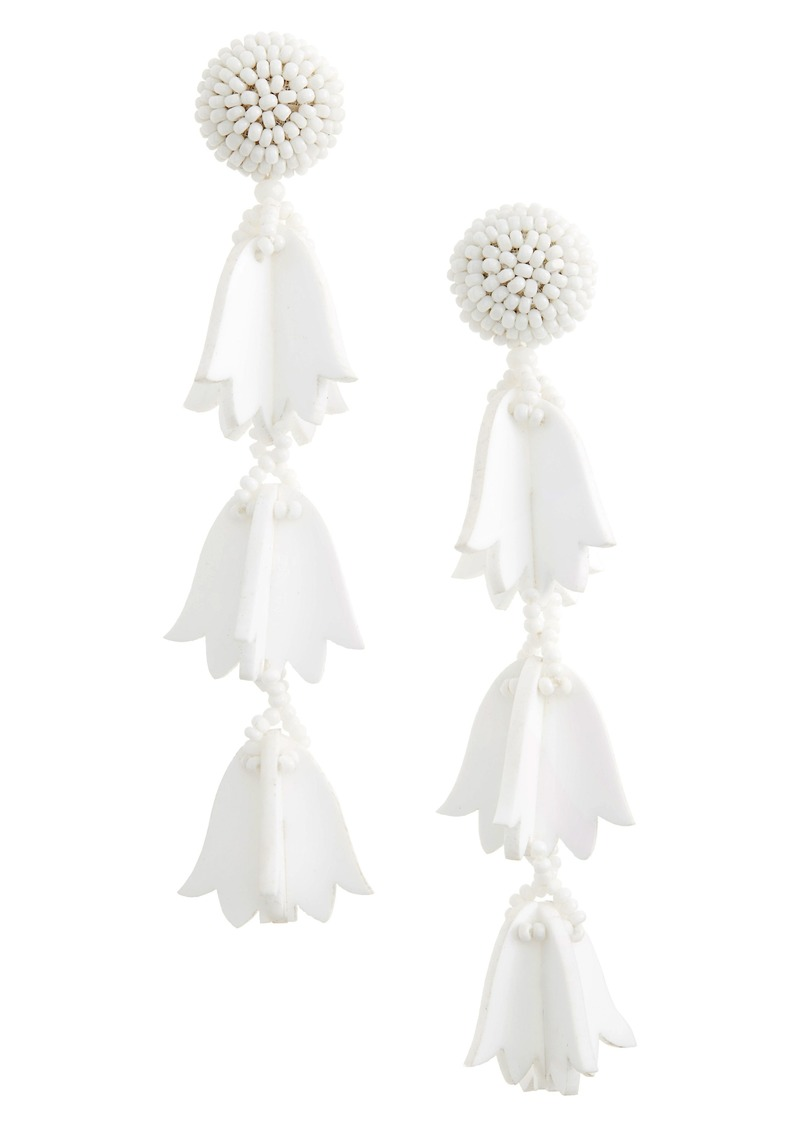 Oscar de la Renta Runway Bellflower Drop Earrings