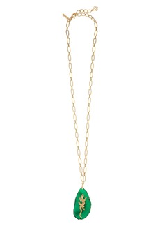 Oscar de la Renta Runway Lizard Stone Pendant Necklace