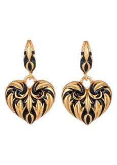 Oscar de la Renta Runway Painted Heart Drop Earrings