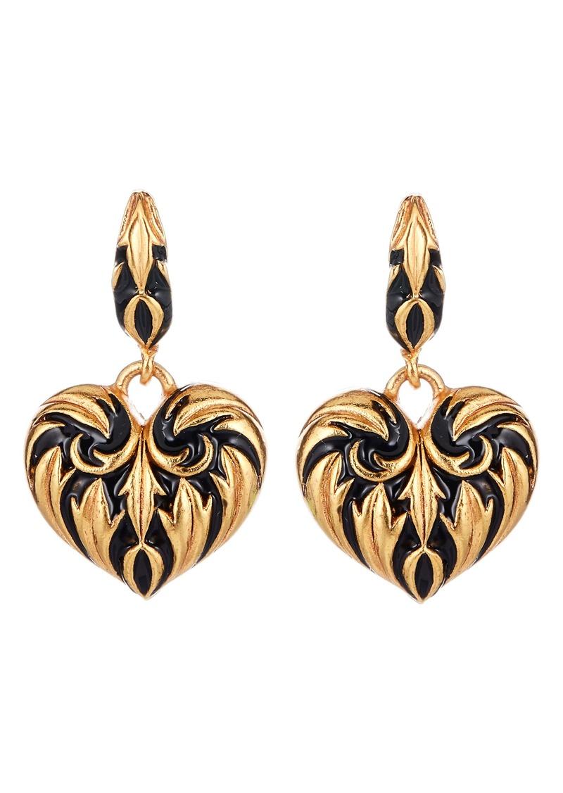 Oscar de la Renta Runway Painted Heart Drop Earrings