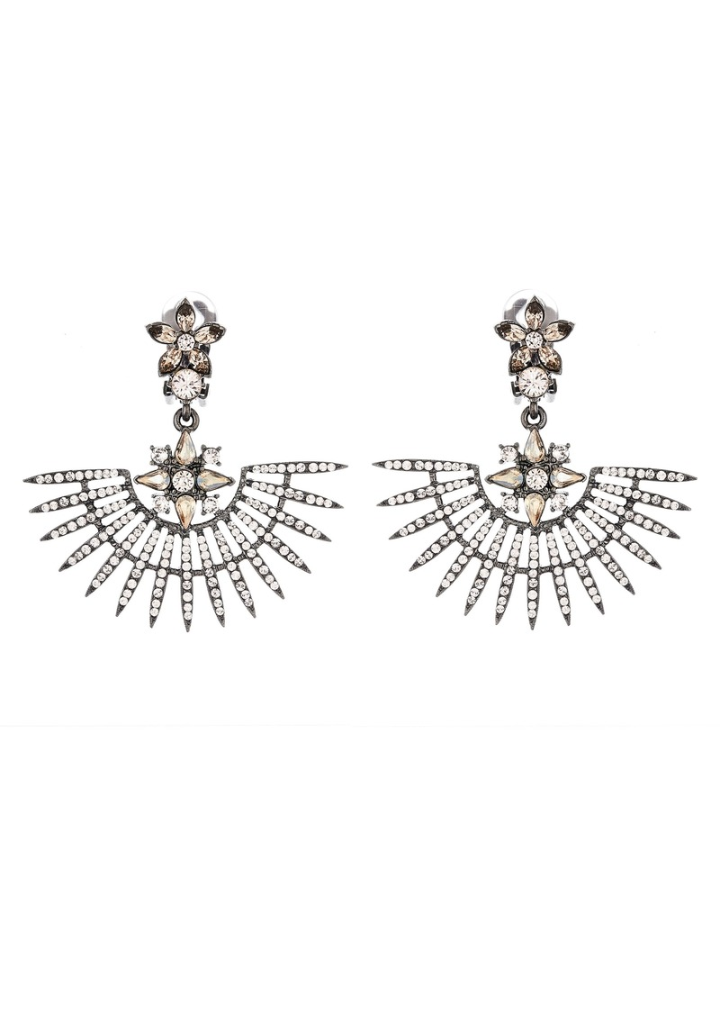 Oscar de la Renta Runway Pavé Point Fan Earrings