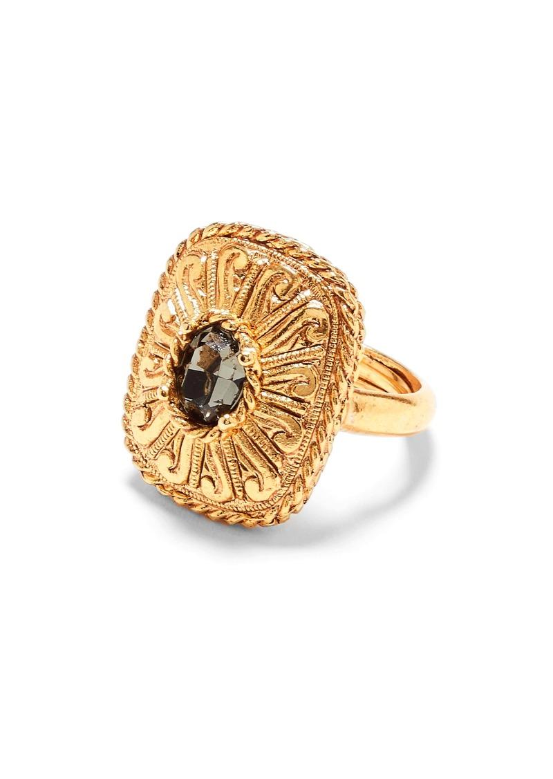 Oscar de la Renta Runway Square Crystal Ring