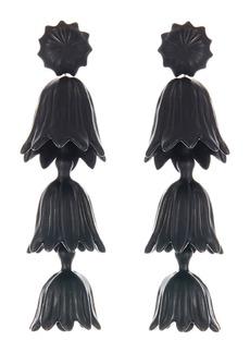 Oscar de la Renta Runway Tiered Flower Clip-On Earrings