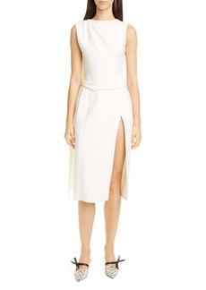 Oscar de la Renta Sash Back Wool Blend Midi Dress