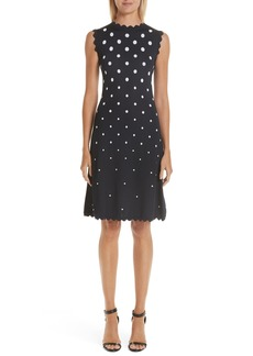 Oscar de la Renta Scallop Edge Polka Dot A-Line Dress