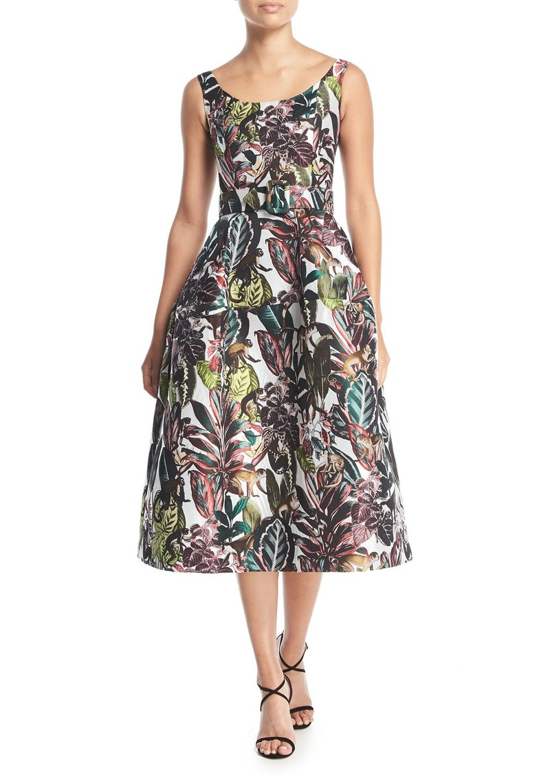 Oscar de la Renta Scoop-Neck Sleeveless Jungle & Monkey-Print Tea-Length Dress