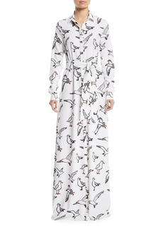 Oscar de la Renta Seagull-Print Button-Down Long-Sleeve Tie-Waist Long Dress