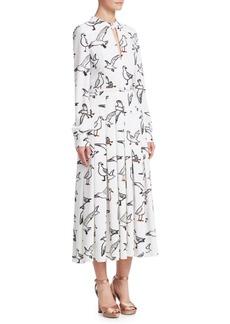 Oscar de la Renta Seagull-Print Shirt Dress