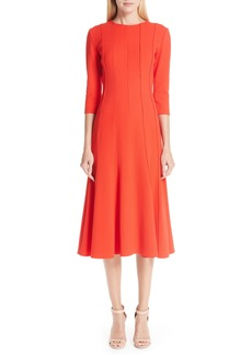 Oscar de la Renta Seam Detail Stretch Wool A-Line Midi Dress
