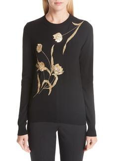 Oscar de la Renta Sequin Embellished Floral Wool Sweater