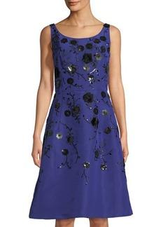 Oscar de la Renta Sequin Embroidered Faille Dress