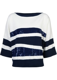 Oscar de la Renta sequin embroidered sweater - Blue