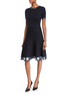 Oscar de la Renta Sequined & Tulle Hem Short-Sleeve Sweater Dress