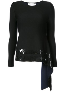 Oscar de la Renta sequined asymmetric-hem jumper - Black