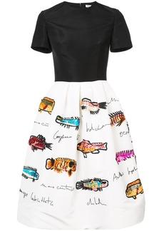 Oscar de la Renta sequined fish-print full skirt - Black