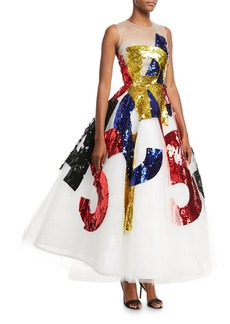 Oscar de la Renta Sequined Oscar Tulle Gown