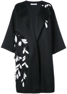 Oscar de la Renta sequinned flower embroidered coat - Black