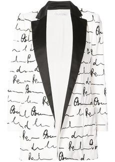 Oscar de la Renta shawl collar printed blazer - White