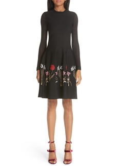 Oscar de la Renta Sheer Sleeve Floral Hem Dress