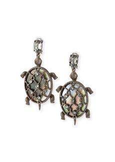 Oscar de la Renta Shell Turtle Earrings  Silvertone