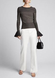 Oscar de la Renta Shimmer-Striped Bell-Sleeve Sweater