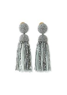 Oscar de la Renta Short Bead & Silk Tassel Clip-On Earrings