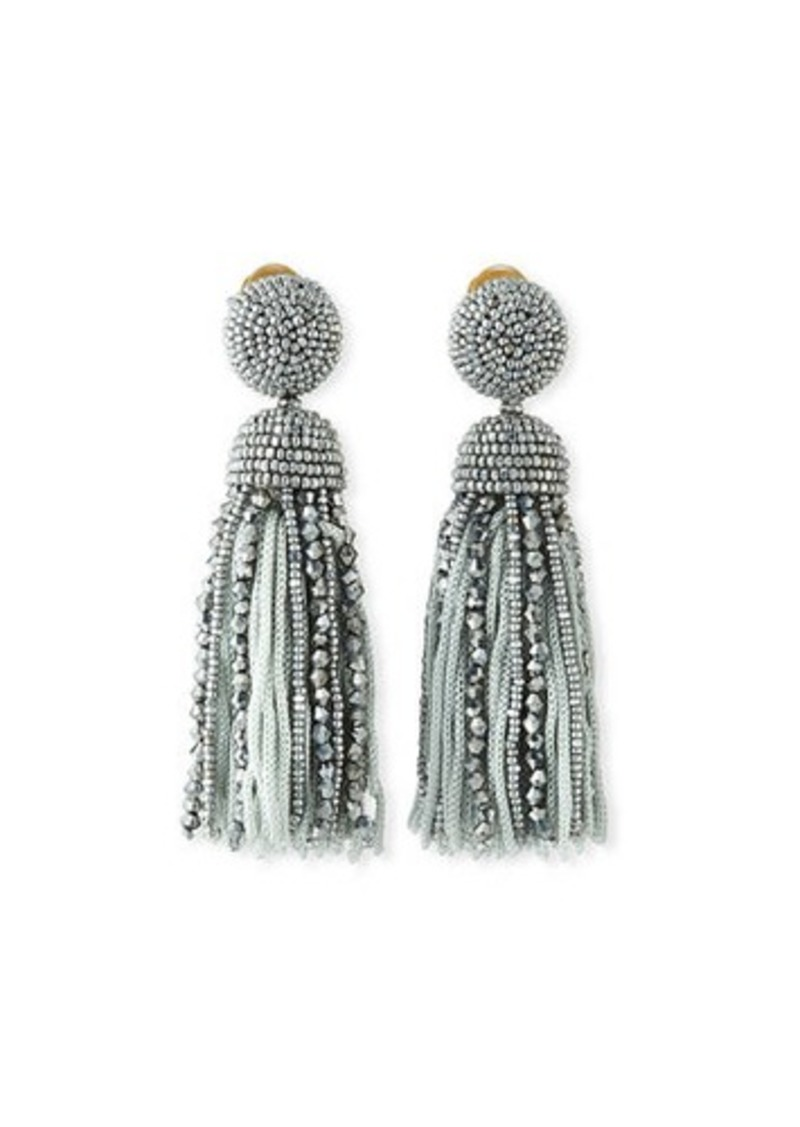 Oscar de la Renta Short Bead & Silk Tassel Clip-On Earrings