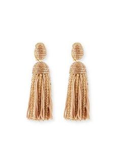 Oscar de la Renta Short Clip-On Bead & Silk Tassel Earrings