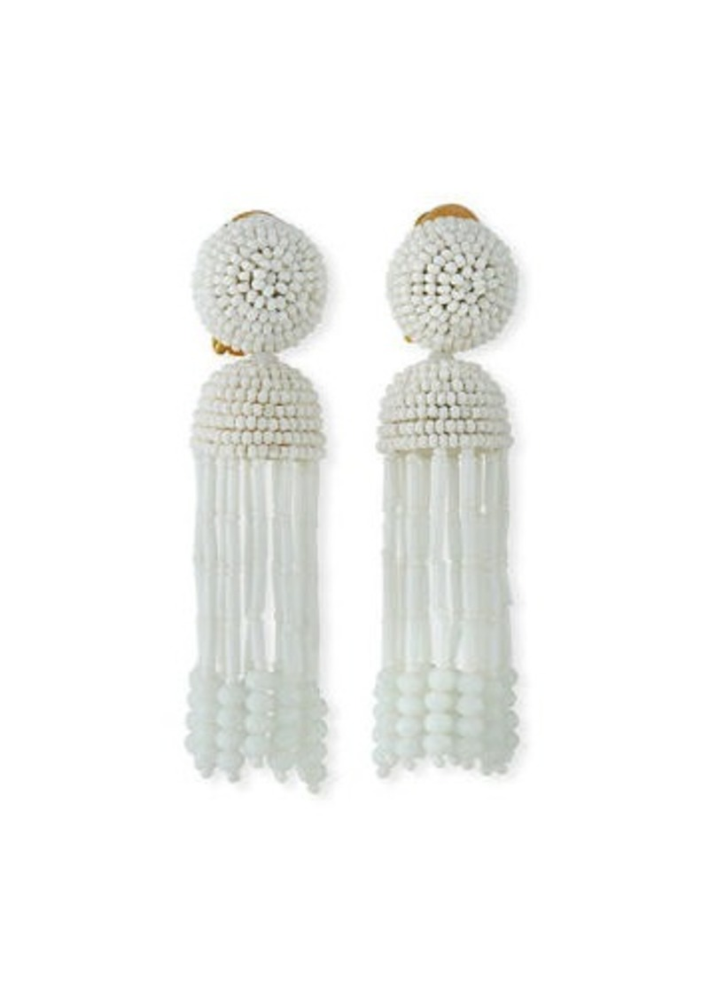 Oscar de la Renta Short Clip-On Beaded Tassel Earrings