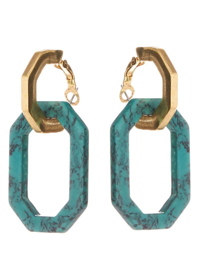 Oscar de la Renta Short Octagon Earrings