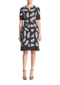 Oscar de la Renta Short-Sleeve Belted Leaf-Print Tweed Coat Dress