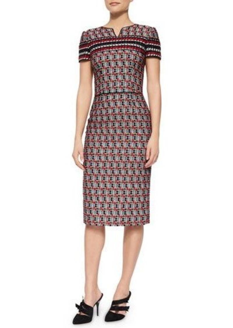 Oscar de la Renta Short-Sleeve Check Tweed Sheath Dress
