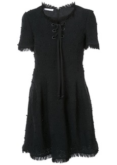 Oscar de la Renta short sleeve cord lace up dress - Black