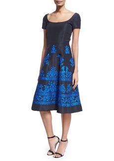 Oscar de la Renta Short-Sleeve Embroidered Faille Cocktail Dress