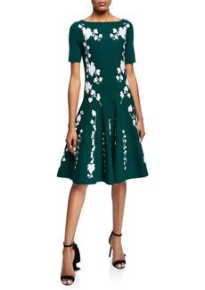 Oscar de la Renta Short-Sleeve Floral Knee-Length Dress