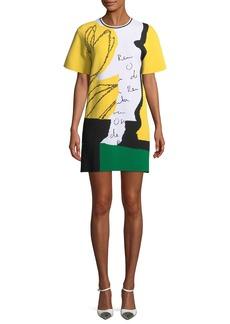 Oscar de la Renta Short-Sleeve Jersey Signature Dress