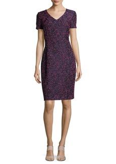 Oscar de la Renta Short-Sleeve Knit Sheath Dress