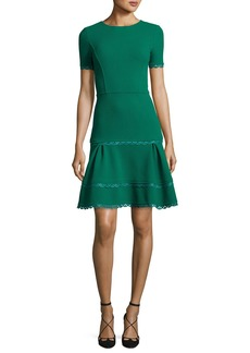 Oscar de la Renta Short-Sleeve Lace-Trim Dress