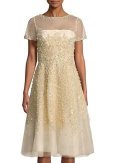 Oscar de la Renta Short Sleeve Sequined-Lace Dress