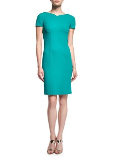 Oscar de la Renta Short-Sleeve Sheath Dress