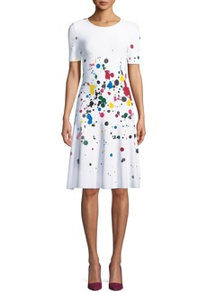Oscar de la Renta Short-Sleeve Splatter Paint Dress