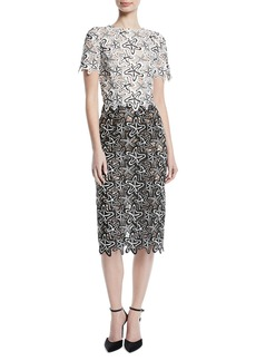 Oscar de la Renta Short-Sleeve Starfish-Guipure Lace Midi Sheath Cocktail Dress