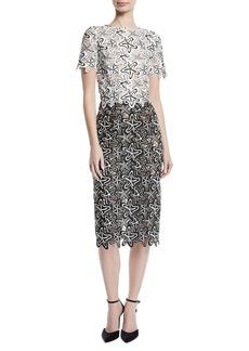 Oscar de la Renta Short-Sleeve Starfish-Guipure Lace Midi Sheath Cocktail Dress