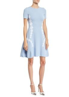 Oscar de la Renta Short-Sleeve Tulip-Embroidered Fit-and-Flare Dress