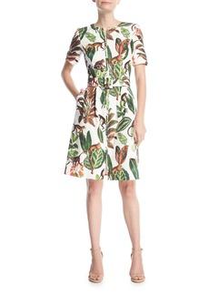 Oscar de la Renta Short-Sleeve Zip-Front Belted Monkey-Leaf Printed Canvas Dress