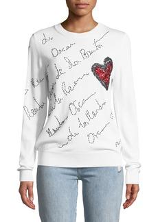 Oscar de la Renta Signature-Embroidered Heart Sweater