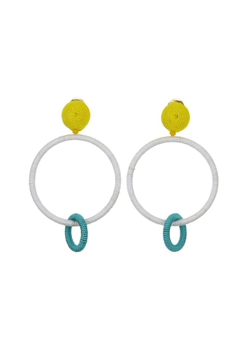 Oscar de la Renta Silk Double Hoop Clip-On Earrings